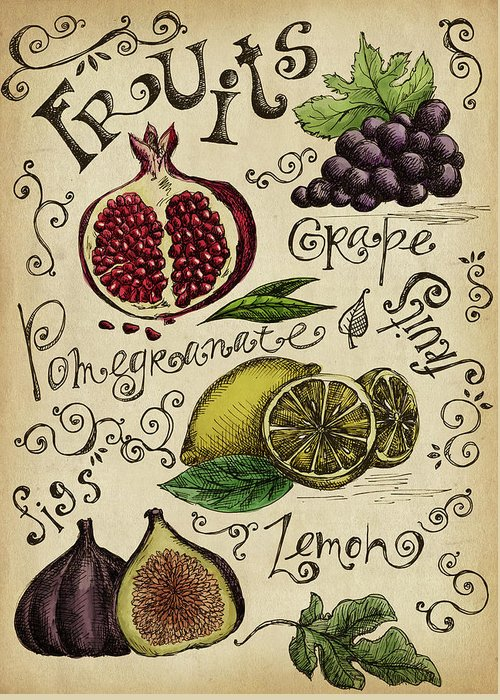 Doodle Greeting Card featuring the digital art Fruits by Kalistratova