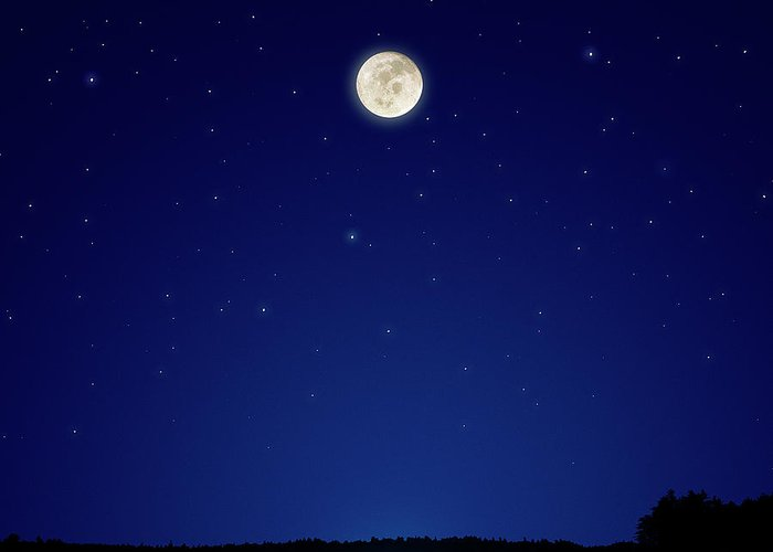 Constellation Greeting Card featuring the photograph Full Moon Over New Hampshire by Soubrette