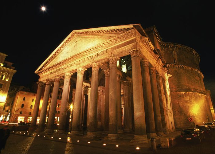 Pantheon Greeting Card featuring the photograph Full Moon Over Pantheon And Portico by Lonely Planet