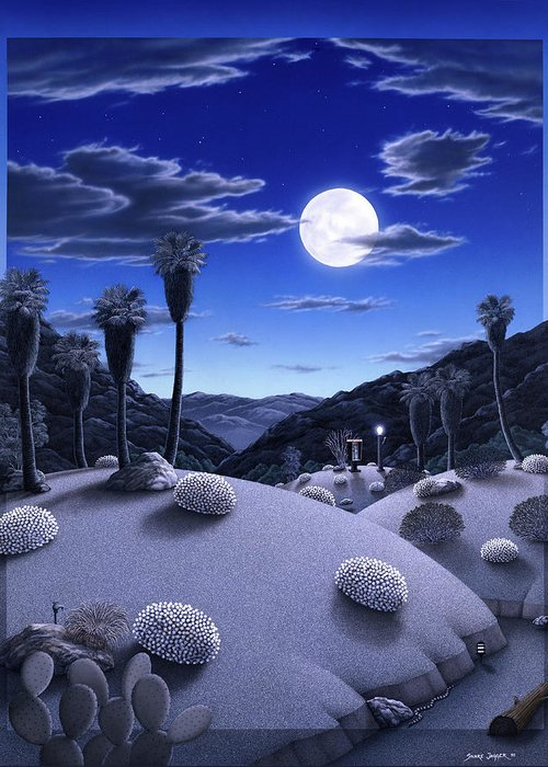 Desert Greeting Card featuring the painting Full Moon Rising by Snake Jagger