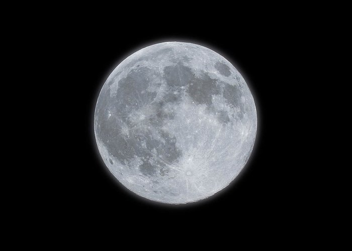 Sky Greeting Card featuring the photograph Full Moon With Glow by Banksphotos