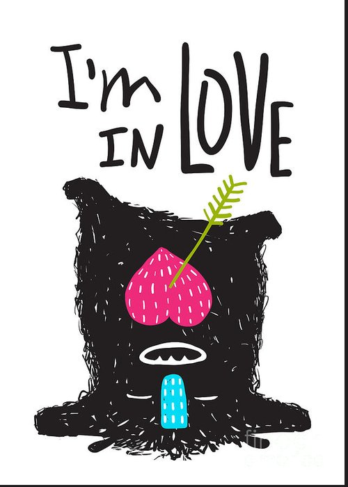Play Greeting Card featuring the digital art Fun Monster In Love Happy Upside-down by Popmarleo