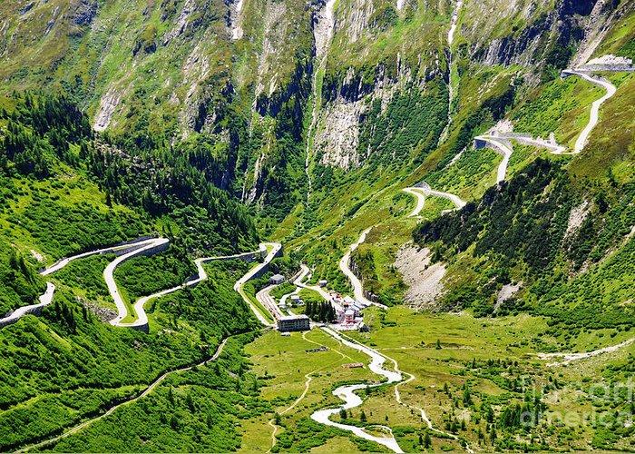 Alps Greeting Card featuring the photograph Furka Pass Switzerland by Alexander Chaikin
