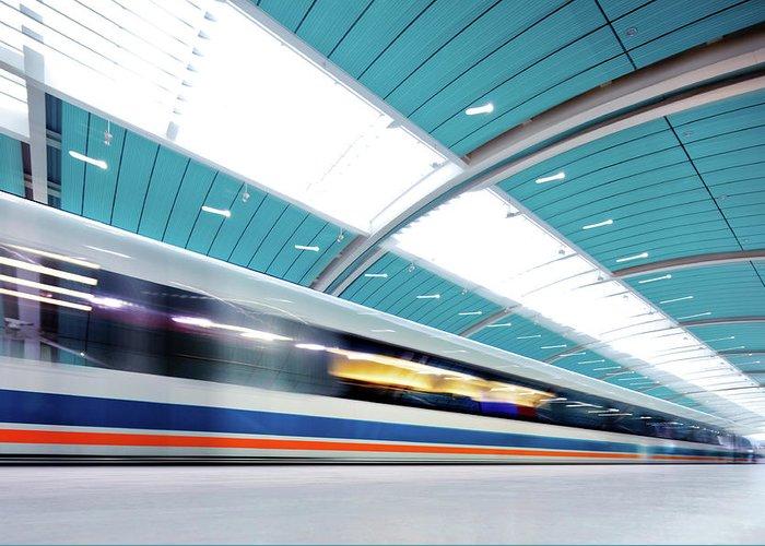 Aerodynamic Greeting Card featuring the photograph Futuristic Train by Nikada