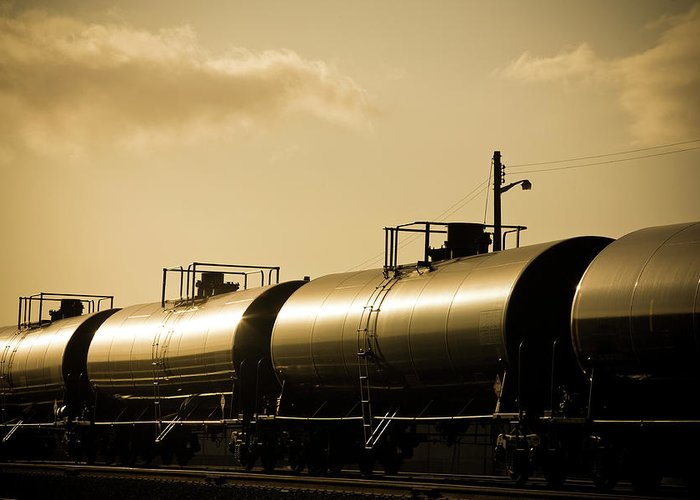 Natural Gas Greeting Card featuring the photograph Gasoline Train At Sunset by Halbergman