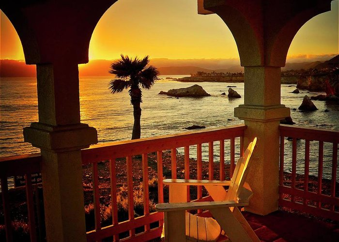 Nature Greeting Card featuring the photograph Gazebo View of Central California Coast by Zayne Diamond Photographic