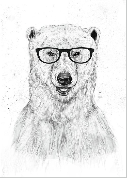 Bear Greeting Card featuring the drawing Geek Bear by Balazs Solti
