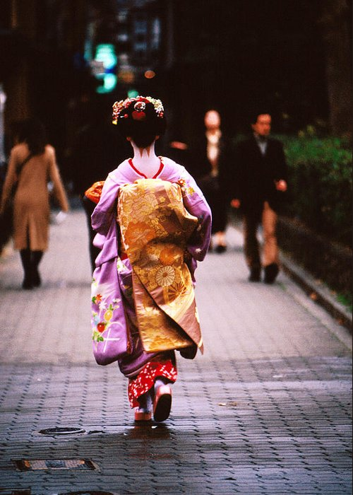 Headwear Greeting Card featuring the photograph Geisha In Kimono Walking Away, Pontocho by Lonely Planet