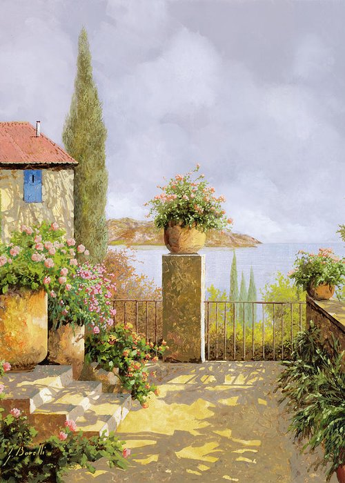 Seascape Greeting Card featuring the painting Giallo Morbido by Guido Borelli