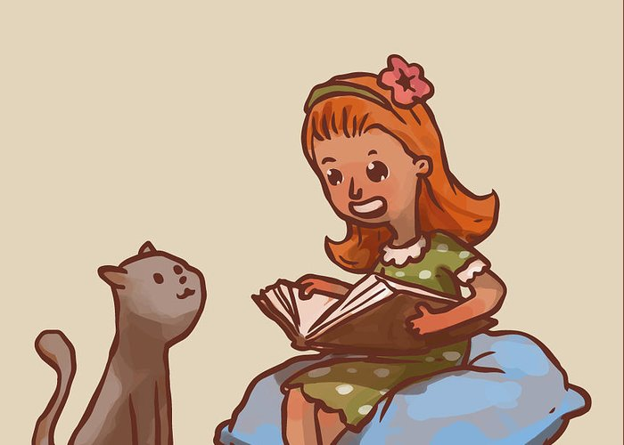 Designs Similar to Girl Reads Book To Cat, Vector