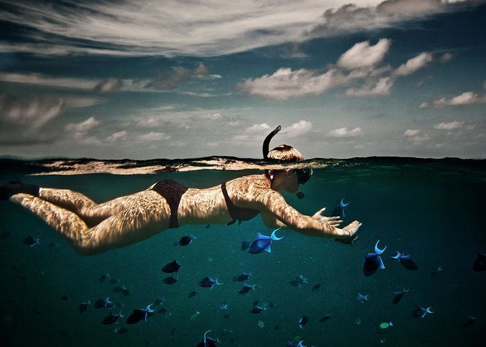 People Greeting Card featuring the photograph Girl Snorkelling In Indian Ocean by Rjw
