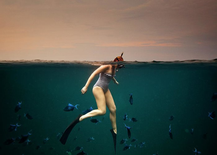 People Greeting Card featuring the photograph Girl Snorkelling by Rjw