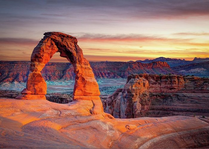 Scenics Greeting Card featuring the photograph Glowing Arch by Mark Brodkin Photography