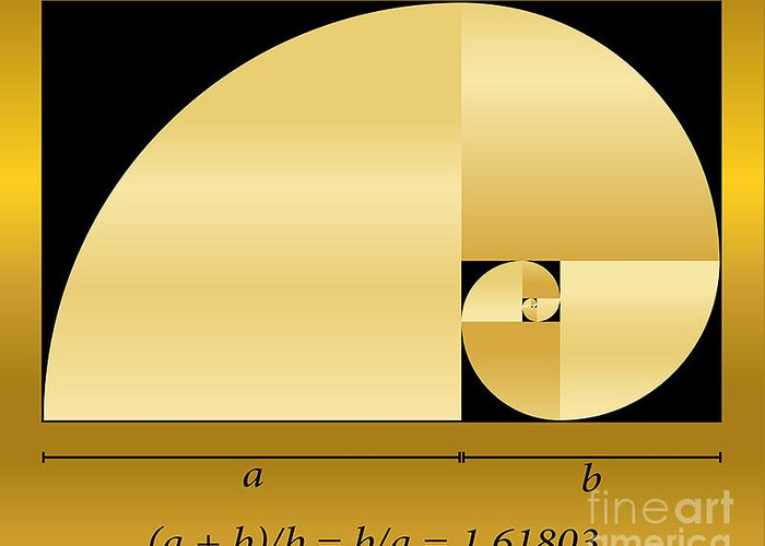 Calculation Greeting Card featuring the digital art Golden Cut, Shown As A Spiral Out Of by Peter Hermes Furian