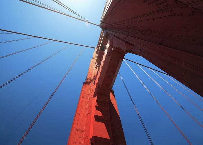 San Francisco Greeting Card featuring the photograph Golden Gate Bridge Tower by Mortonphotographic