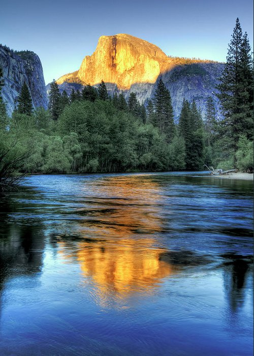 Scenics Greeting Card featuring the photograph Golden Light On Half Dome by Mimi Ditchie Photography