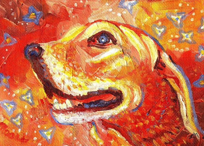 Dog Greeting Card featuring the painting Golden Love by Linda Mears