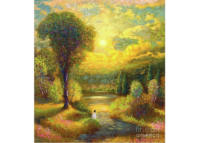 Meditation Greeting Card featuring the painting Golden Peace by Jane Small