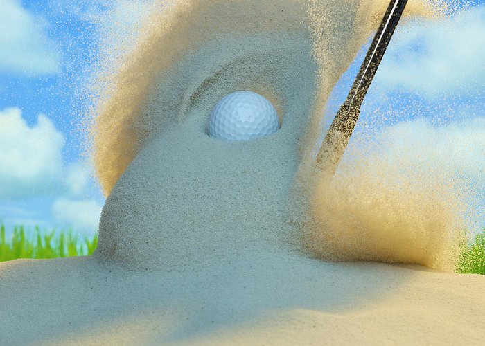 Drive Greeting Card featuring the photograph Golf Ball Being Driven Out Of A Sand by Don Farrall