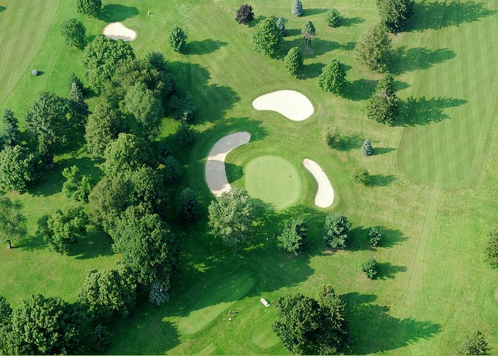 Sand Trap Greeting Card featuring the photograph Golf Course Close Up From The Air by Groveb