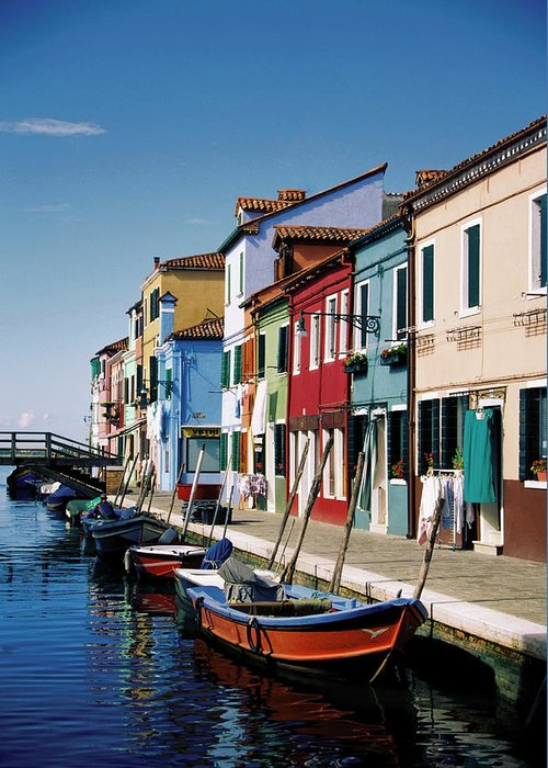 Row House Greeting Card featuring the photograph Gondolas In A Canal, Burano, Venice by Medioimages/photodisc