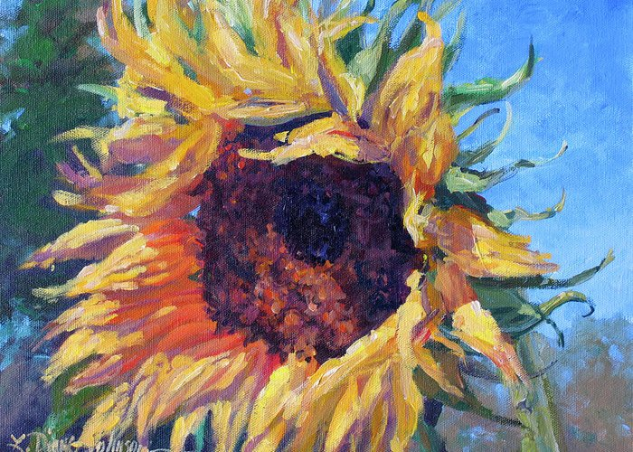 Sunflower Landscape Greeting Card featuring the painting Good Mornin by L Diane Johnson