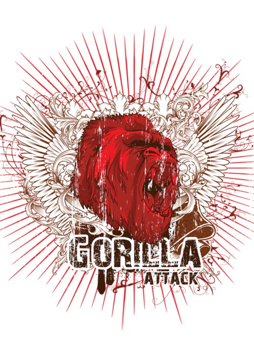Animal Greeting Card featuring the digital art Gorilla Attack by Passion Loft