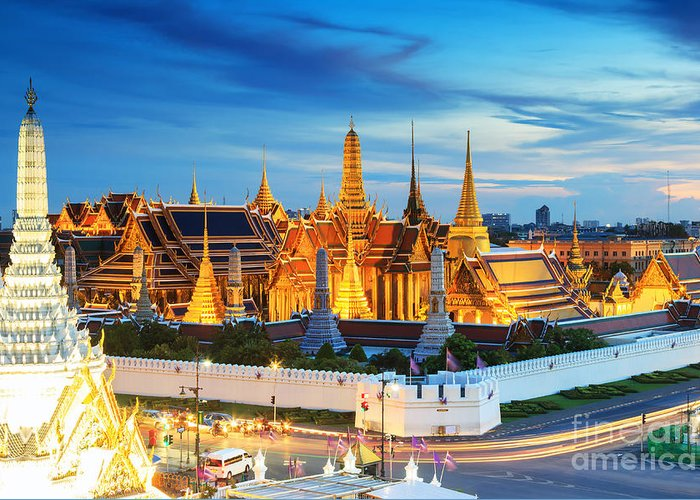 Capital Greeting Card featuring the photograph Grand Palace And Wat Phra Keaw At by Southerntraveler