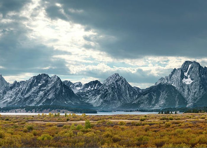 Scenics Greeting Card featuring the photograph Grand Tetons In Dramatic Light by Ed Freeman
