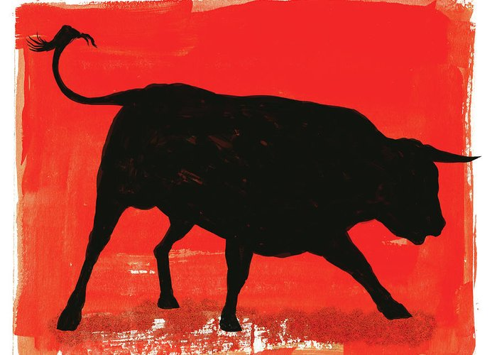 Bull Market Greeting Card featuring the digital art Graphic Bull Illustration by Don Bishop