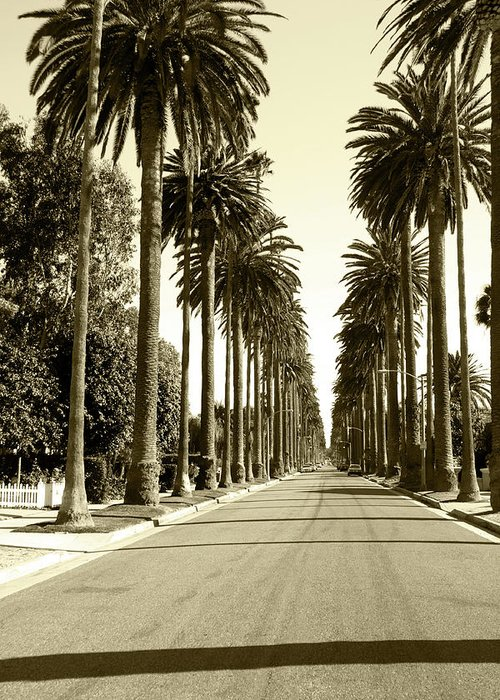 1950-1959 Greeting Card featuring the photograph Grayscale Image Of Beverly Hills by Marcomarchi