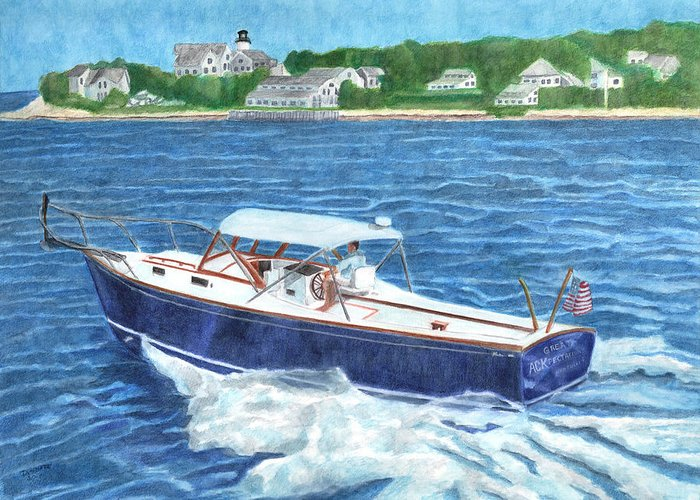 Boat Greeting Card featuring the painting Great Ackpectations Nantucket by Dominic White