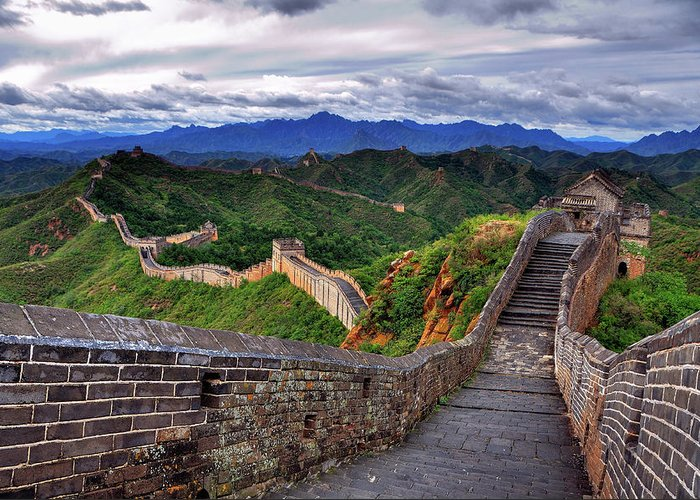 Chinese Culture Greeting Card featuring the photograph Great Wall Of China by Aaron Geddes Photography