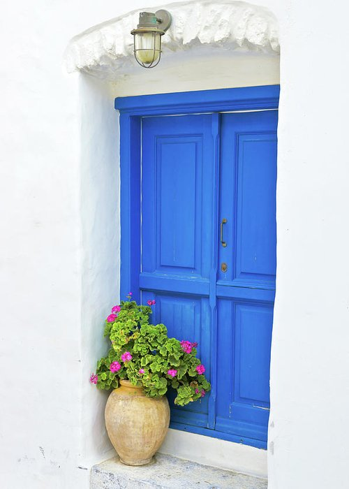 Greek Culture Greeting Card featuring the photograph Greek Island Doorway by Abzee