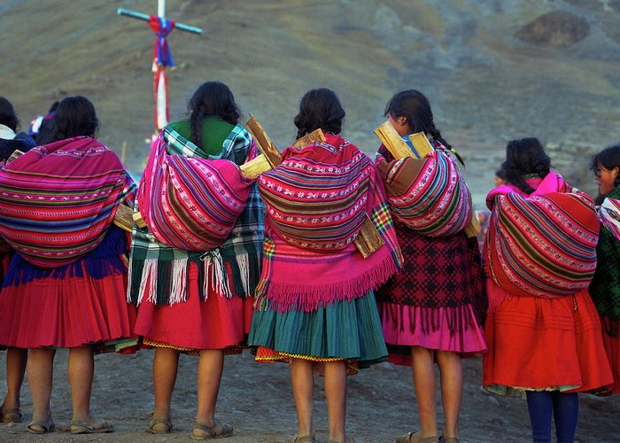 People Greeting Card featuring the photograph Group Of Peruvian Woman In Colorful by Linka A Odom