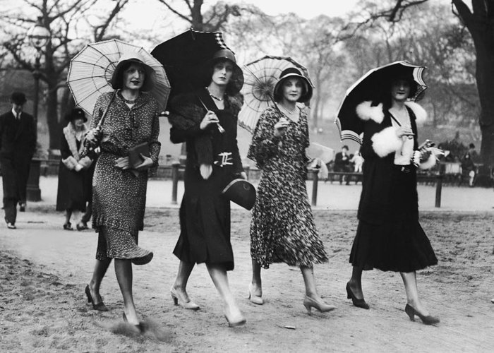 Mid Adult Women Greeting Card featuring the photograph Group Of Women Walking With Umbrellas by Fpg