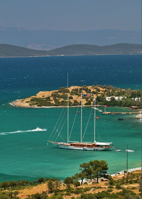 Sailboat Greeting Card featuring the photograph Gulet Traditional Turkish Wooden by Izzet Keribar