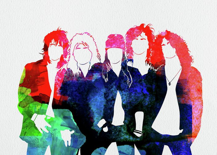 Guns N' Roses Greeting Card featuring the mixed media Guns N' Roses Watercolor by Naxart Studio