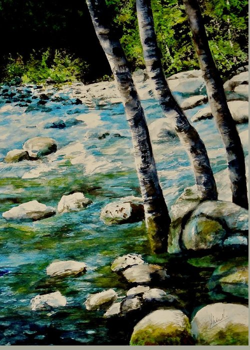 Rocky Waterfall Greeting Card featuring the painting Gushing Waters by Sher Nasser