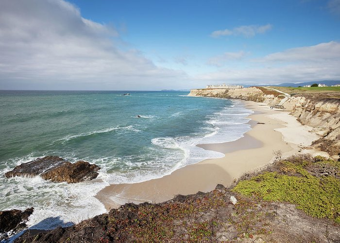 Water's Edge Greeting Card featuring the photograph Half Moon Bay California by Stevegeer