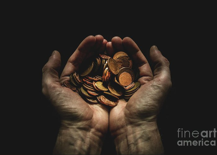 Coin Greeting Card featuring the photograph Hands Holding Coins Against Black by Andy Kirby