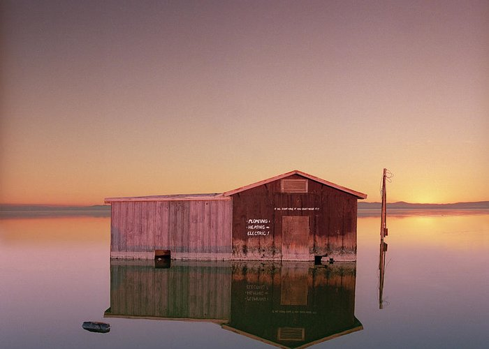 Drowning Greeting Card featuring the photograph Hardware Store Sinking Into The Salton by Ed Freeman