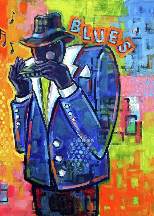 Blues Greeting Card featuring the painting Harmonica Player by Ken Daley