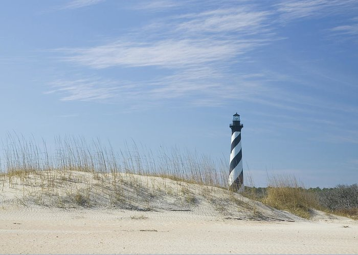 North Carolina Greeting Card featuring the photograph Hatteras Lighthouse And The Dunes by Myhrcat