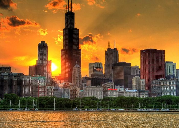 Tranquility Greeting Card featuring the photograph Hdr Chicago Skyline Sunset by Jeffrey Barry