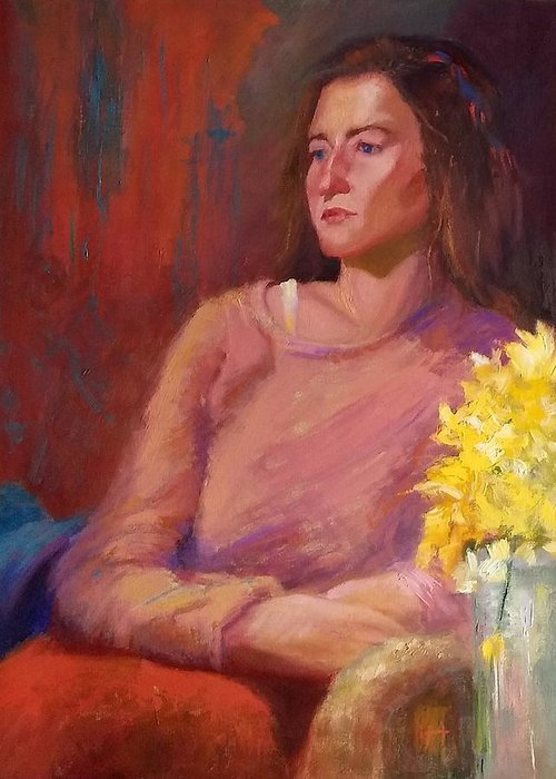 Woman Greeting Card featuring the painting He Never Apologized by Irena Jablonski