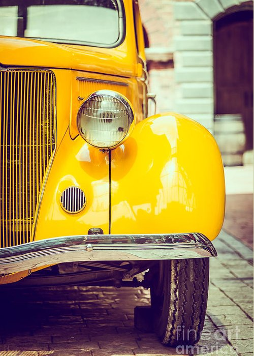 Auto Greeting Card featuring the photograph Headlight Lamp Vintage Car - Vintage by Food Travel Stockforlife