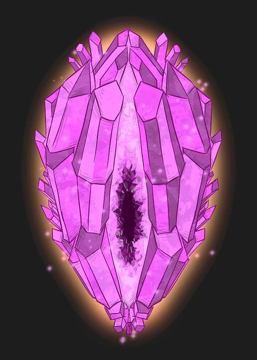 Healing Crystals Greeting Card featuring the drawing Healing Crystals by Ludwig Van Bacon