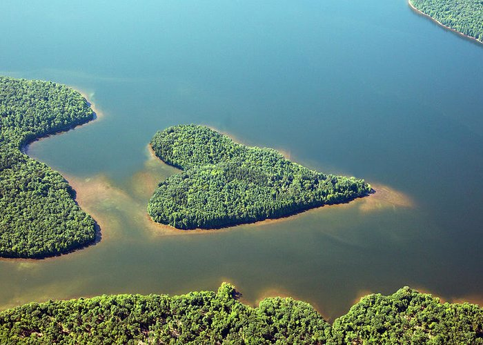 Outdoors Greeting Card featuring the photograph Heart-shaped Island In Lake by Thomas Jackson