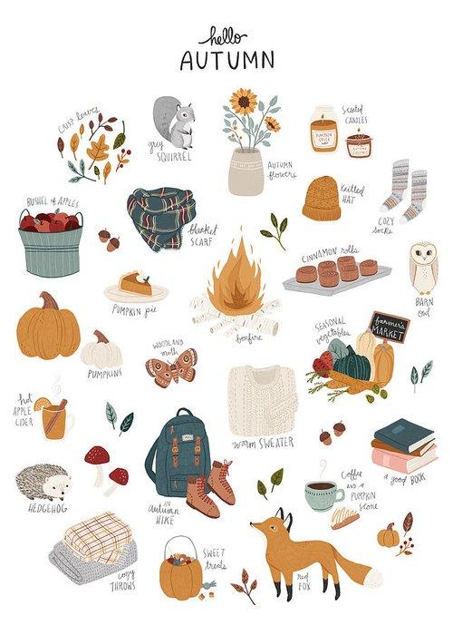 Autumn Greeting Card featuring the digital art Hello Autumn by Amy Hamilton